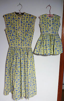 Lanz Original c1950 Mother & Daughter Dresses So Sweet w/Heart Shaped Buttons