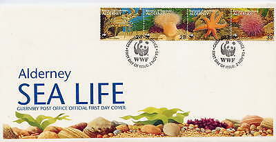 ALDERNEY 1993 MARINE LIFE SET on FIRST DAY COVER