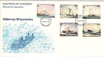 ALDERNEY 1987 SHIPWRECKS SET of 5 on FIRST DAY COVER