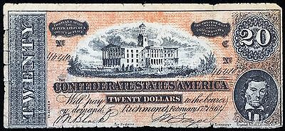 1864 Confederate States of America $20 Twenty Dollar Reproduction Note