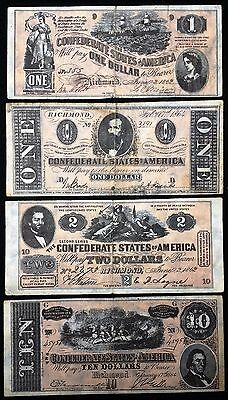 Lot of 4 Confederate States of America Reproduction Notes
