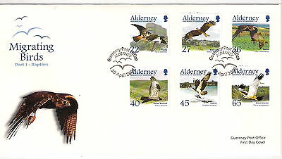ALDERNEY 2002 MIGRATING BIRDS RAPTORS SET of 6 on FIRST DAY COVER