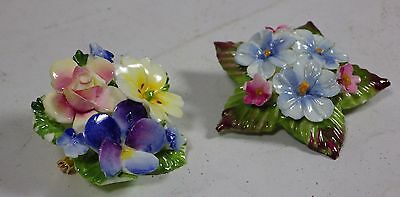 Two Bone China Flower Brooches - Made in England