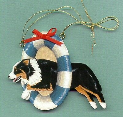 AUSTRALIAN SHEPHERD Wooden AGILITY ORNAMENT - Black-tri - Hand Crafted!