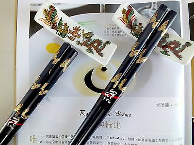 2 Chinese Gold Butterfly Black Chopsticks Ceramic Stand Japanese Dinner Party
