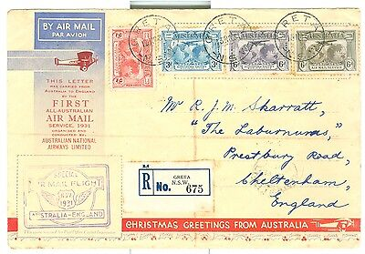 "1931 Australia ANA Ltd FFC Greta NSW to UK multistamped ""Official "" cover"