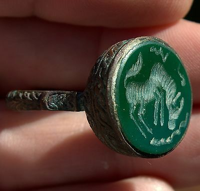 Stunning Old Medieval Very Detailed Bronze HORSE Intaglio Ring