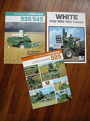 Lot of 3 Oliver 1755 1855 1955 Tractor 525 235 545 Combine Brochures