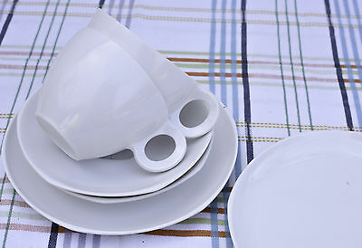Vintage Pair Of Fiesta Melamine Cup Saucer And Tea Plate White