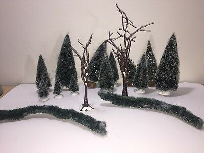 Mixed Lot Brush Pine Christmas Tree Wood Base Some Dept 56 Village Snow Covered