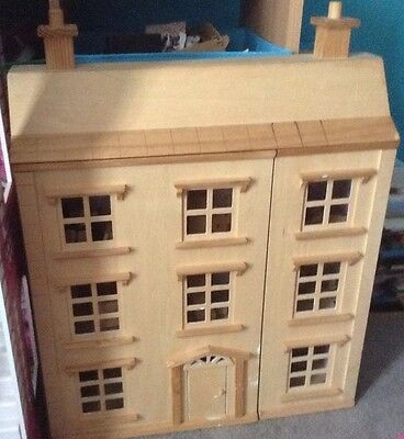 Wooden Dolls House With Furniture & Family