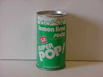 Superamerica SA Super Pop Lemon Lime Pull Tab Straight Steel Soda Can Top Opened