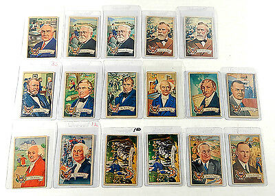 Lot of (17) 1952 Bowman US Presidents Trading Cards (14 Different)