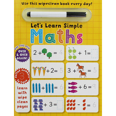 Lets Learn Simple Maths - Wipe Clean Activity Book, Children's Books, Brand New