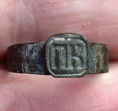 Old Bronze Medieval Middle Ages Lettered Ring Artifact From Latvia Excavation