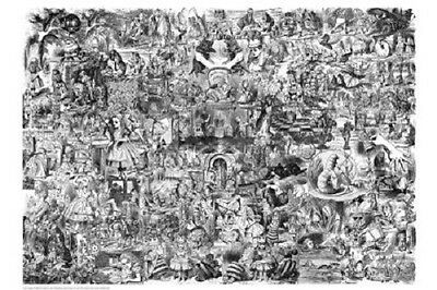 "Alice in Wonderland movie poster 24x36"" Art collage black and white print"