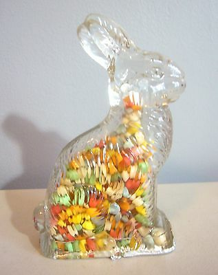 Vintage J H Millstein clear Glass Easter Bunny Rabbit color Candy container