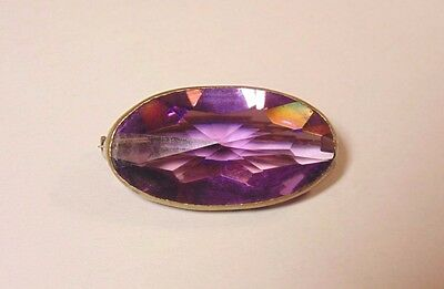 Victorian Art Deco Brass Tone Faceted Amethyst Purple Glass Pin Brooch C-Clasp