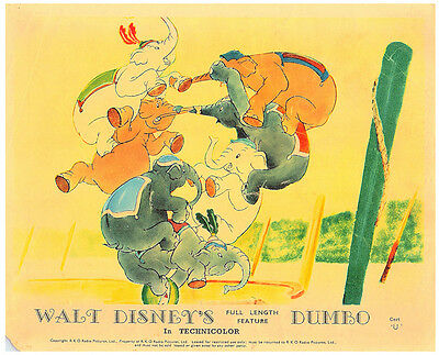 Dumbo Walt Disney Animation Classic Original British Color Lobby Card Elephants