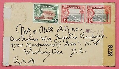 1944 Dominica Tri Franked Cover Wwii Censored To Usa