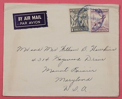 1943 Canada Newfoundland Airmail Cover St Johns To Usa