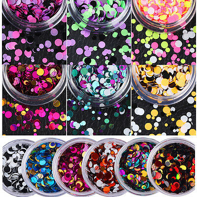Round Nail Art Glitter Mix Sequins Acrylic UV Gel Manicure 3D Decoration DIY