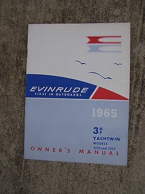 1965 Evinrude Outboard Motor 3 HP Yachtwin 3532 3533 Owner Manual CHECK STORE  S