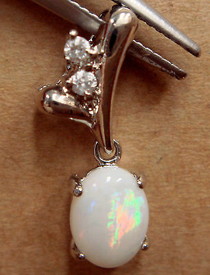 Women Jewelry Natural Crystal Opal Necklace With 925 Solid Silver Opal Size 8x6m