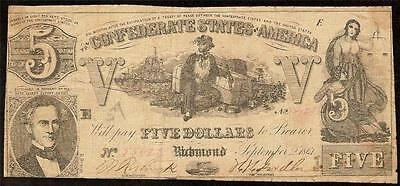1861 $5 Dollar Bill Confederate States Currency Civil War Note Paper Money T-37