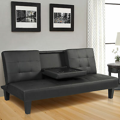 Faux Leather Futon Sofa Bed Fold Up Couch Recliner Lounger Sleeper Furniture BK
