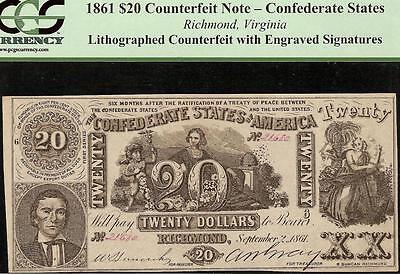 1861 $20 Confederate States Contemporary Counterfeit Civil War Note Ct-20 Pcgs