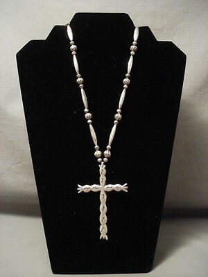 Early Hand Tooled Sterling Silver Cross Necklace Old