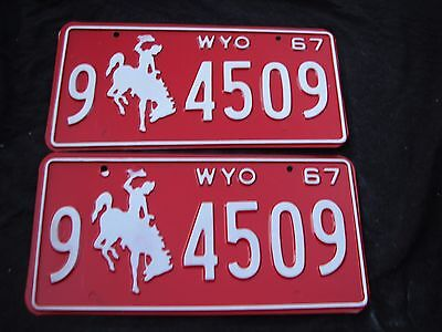"Mint 1967 Wyoming Pair Pass  License Plate Plates  "" 9  4509 "" Wy 67 Wyo Bronco"