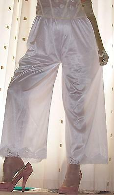 Long white silky semi sheer nylon pantie slip~pettipants~culottes~bloomers 16~18