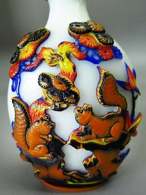Five Color Chinese Crane Squirrel Pinaster Carved Peking Overlay Glass Snuff Bot