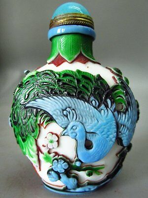 Five Color Chinese Peafowl Flower Carved Peking Overlay Glass Snuff Bottle