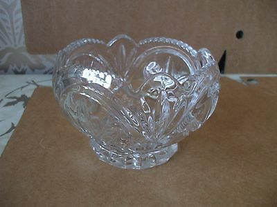 "Vintage Retro Chunky cut  Glass Flower Shaped Sugar Bowl 5"" Diameter"