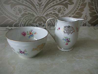 Vintage Retro Bavarian China Sugar Bowl & Milk Jug pink floral & Gold