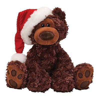gund philbin bear wearing a christmas hat gift  soft toy