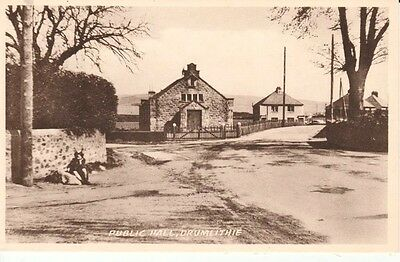 Early DRUMLITHIE Public Hall - houses, girl sitting to the left, Valentine's