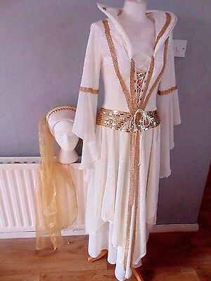 Stunning Quality Cream  Velveteen  Medieval Tudor Style Outfit  Size 10