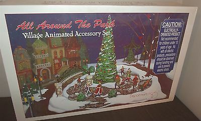 Dept 56 Christmas Village Animated Accessory Set All Around the Park NEW