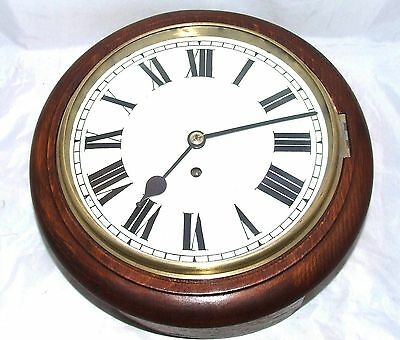 """Antique 10"""" Dial Mahogany Chain Fusee Wall School Station Clock CLEANED SERVICED"""