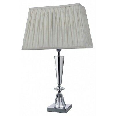 Balmoral Cut Glass Table Lamp with Ivory Pleated Shade Table Light Lighting