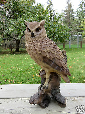 "14.5 "" Great Horned  Owl Figurine On Tree Stump  Hooter Statue Wise Old Owl"