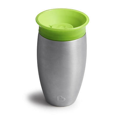 New Munchkin Miracle 10 Ounce Stainless Steel 360 Degree Sippy Cup - Green