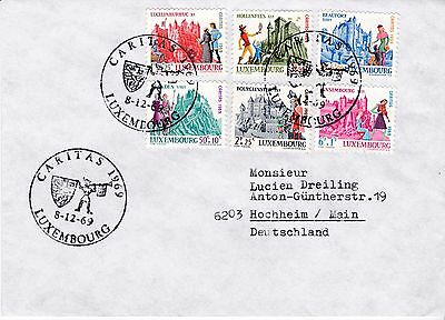 First day cover, Luxembourg, semipostals Scott #B270-B275, Caritas, 1969