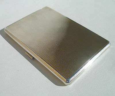 QUALITY HEAVY ART DECO Cohen & Charles SOLID SILVER ENGINE TURNED CIGARETTE CASE