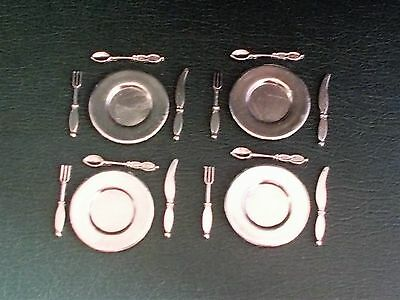 1/12th Scale. Dolls House. 4 x Metal Plates & 12 x Cutlery.