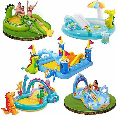 Intex Kids Inflatable Play Centre Slide Swimming Paddling Pool Water Dino Castle